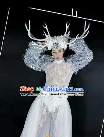 Professional Stage Performance Costume Halloween Cosplay Clown Sequins Clothing and Antlers Headwear for Men