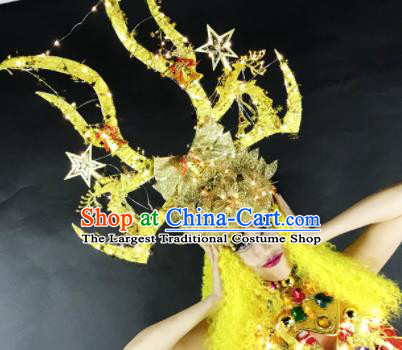 Professional Stage Performance Hair Accessories Brazilian Carnival Golden Antlers Royal Crown for Women