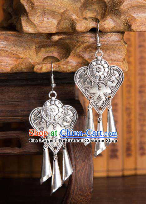 Chinese Traditional Ear Accessories Miao Minority Bells Tassel Earrings for Women