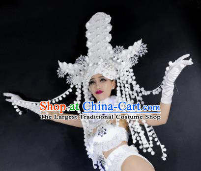 Professional Stage Performance Hair Accessories Brazilian Carnival White Feather Royal Crown for Women