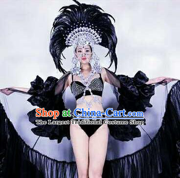 Professional Stage Performance Halloween Costume Brazilian Carnival Black Feather Clothing and Headwear for Women
