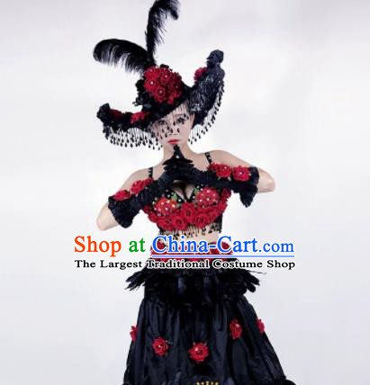 Professional Stage Performance Halloween Costume Brazilian Carnival Black Clothing and Headwear for Women
