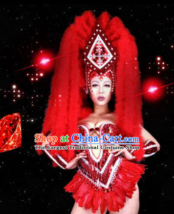 Professional Stage Performance Costume Halloween Cosplay Red Feather Clothing and Headwear for Women