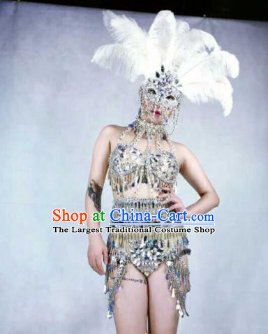 Professional Stage Performance Costume Halloween Cosplay Sequins Swimwear and Feather Headwear for Women