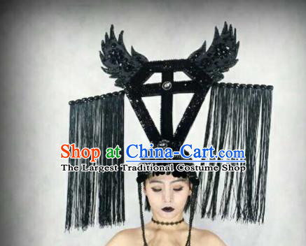 Professional Stage Performance Hair Accessories Brazilian Carnival Black Feather Headwear for Women