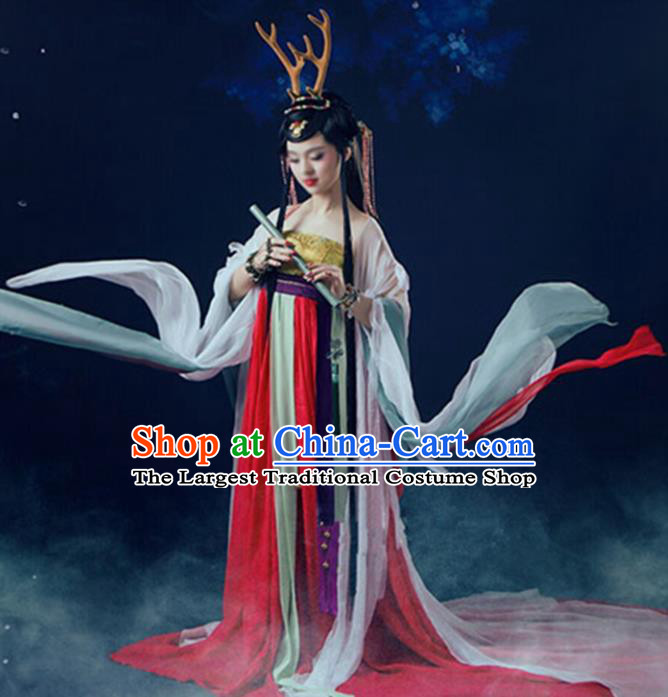 Chinese Cosplay Tang Dynasty Princess Embroidered Costume Ancient Fairy Hanfu Dress for Women