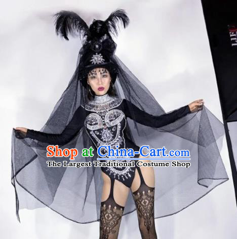 Professional Stage Performance Halloween Costume Brazilian Carnival Cosplay Black Clothing and Feather Headwear for Women