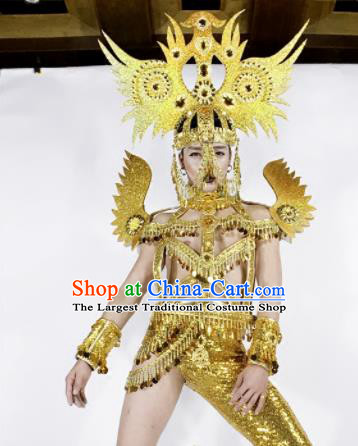 Professional Stage Performance Halloween Costume Brazilian Carnival Cosplay Golden Clothing and Headwear for Women