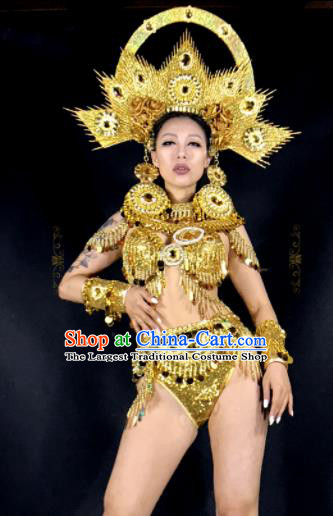 Professional Stage Performance Costume Halloween Golden Clothing and Headwear for Women