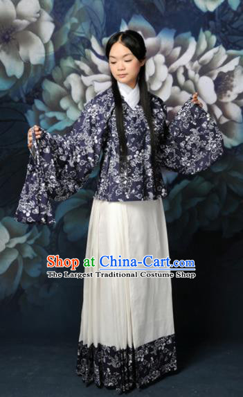 Chinese Traditional Ming Dynasty Village Girl Hanfu Dress Ancient Young Lady Costumes for Women