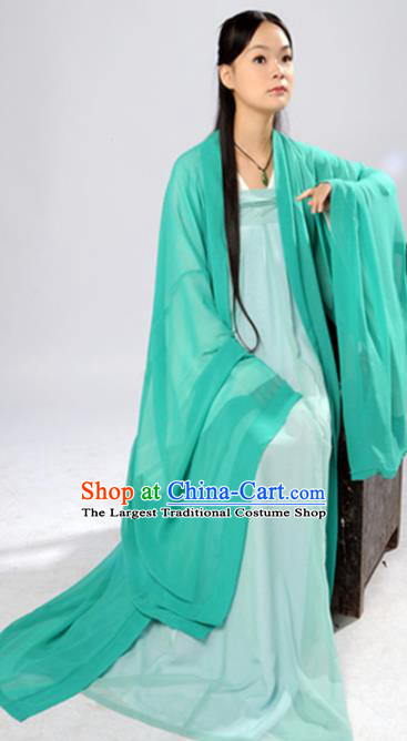 Chinese Traditional Tang Dynasty Maidenform Green Hanfu Dress Ancient Las Meninas Costumes for Women