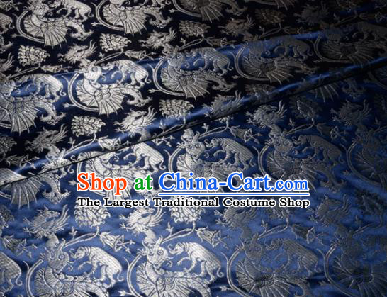 Chinese Traditional Navy Silk Fabric Cheongsam Tang Suit Brocade Palace Dragon Pattern Cloth Material Drapery