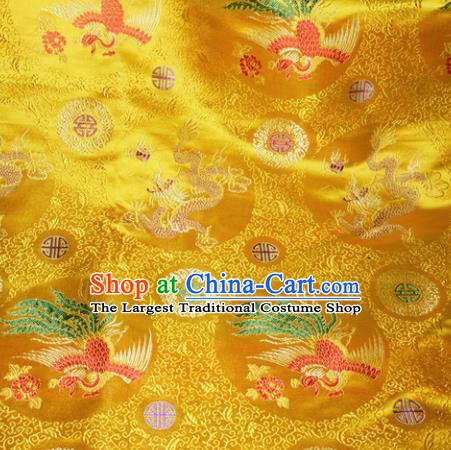 Chinese Traditional Yellow Silk Fabric Tang Suit Brocade Dragon and Phoenix Pattern Cloth Material Drapery