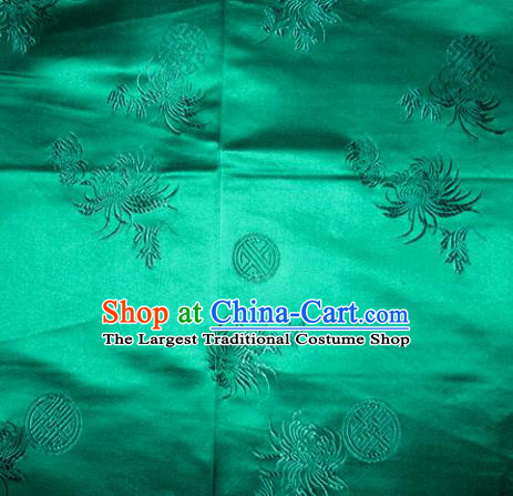 Chinese Traditional Cheongsam Silk Fabric Tang Suit Green Brocade Classical Chrysanthemum Pattern Cloth Material Drapery