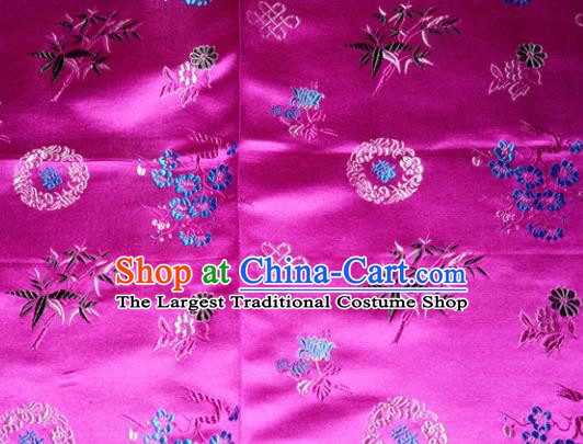 Chinese Traditional Cheongsam Rosy Silk Fabric Tang Suit Brocade Classical Plum Blossom Orchid Bamboo Chrysanthemum Pattern Cloth Material Drapery