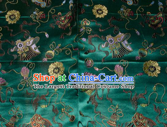 Chinese Traditional Classical Pattern Green Silk Fabric Tang Suit Brocade Cloth Cheongsam Material Drapery