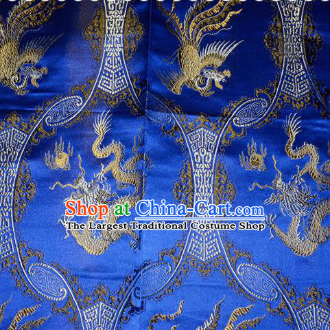 Classical Dragons Phoenix Pattern Chinese Traditional Royalblue Silk Fabric Tang Suit Brocade Cloth Cheongsam Material Drapery