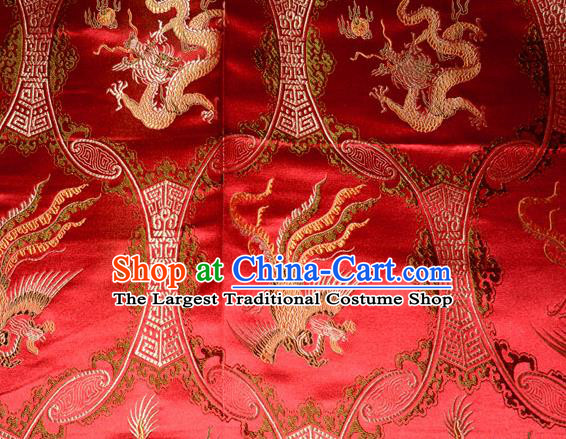 Classical Dragons Phoenix Pattern Chinese Traditional Red Silk Fabric Tang Suit Brocade Cloth Cheongsam Material Drapery