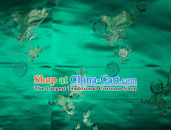 Wedding Classical Dragons Phoenix Pattern Chinese Traditional Green Silk Fabric Tang Suit Brocade Cloth Cheongsam Material Drapery