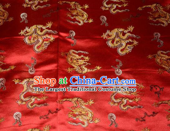 Wedding Classical Dragons Pattern Chinese Traditional Red Silk Fabric Tang Suit Brocade Cloth Cheongsam Material Drapery