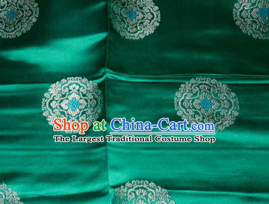 Classical Round Pattern Chinese Traditional Green Silk Fabric Tang Suit Brocade Cloth Cheongsam Material Drapery