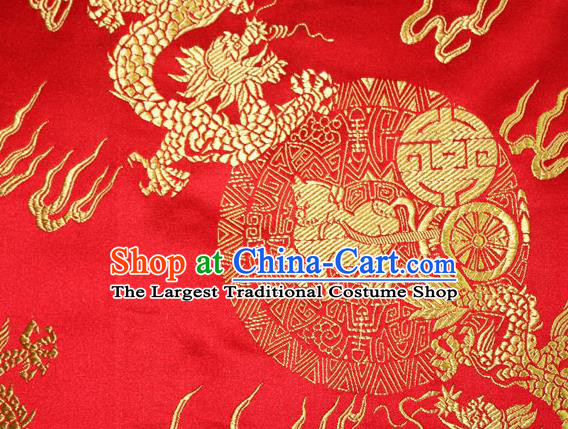 Chinese Traditional Silk Fabric Dragons Pattern Tang Suit Red Brocade Cloth Cheongsam Material Drapery