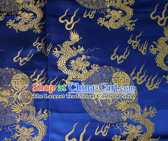 Chinese Traditional Silk Fabric Dragons Pattern Tang Suit Royalblue Brocade Cloth Cheongsam Material Drapery