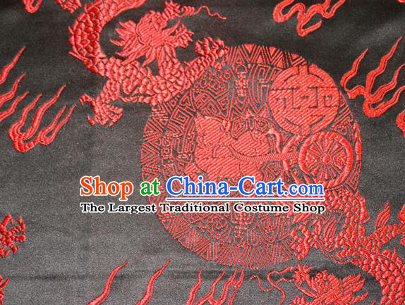 Chinese Traditional Silk Fabric Red Dragons Pattern Tang Suit Brocade Cloth Cheongsam Material Drapery