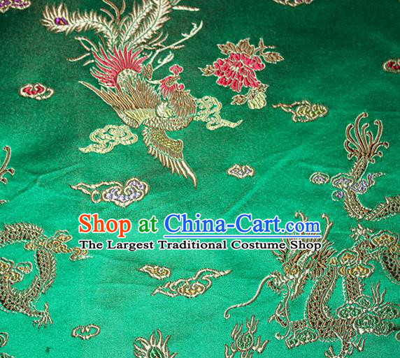 Chinese Traditional Silk Fabric Dragon Phoenix Peony Pattern Tang Suit Green Brocade Cloth Cheongsam Material Drapery