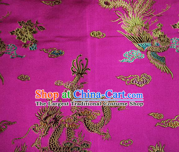 Chinese Traditional Silk Fabric Dragon Phoenix Peony Pattern Tang Suit Rosy Brocade Cloth Cheongsam Material Drapery