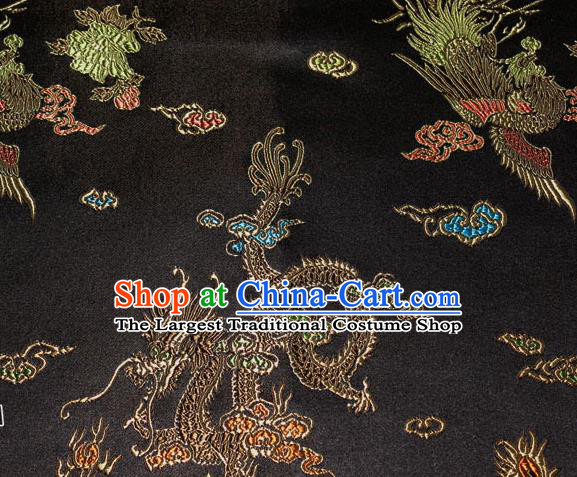Chinese Traditional Silk Fabric Dragon Phoenix Peony Pattern Tang Suit Black Brocade Cloth Cheongsam Material Drapery