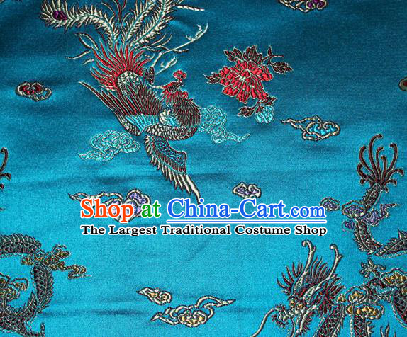 Chinese Traditional Silk Fabric Dragon Phoenix Peony Pattern Tang Suit Blue Brocade Cloth Cheongsam Material Drapery