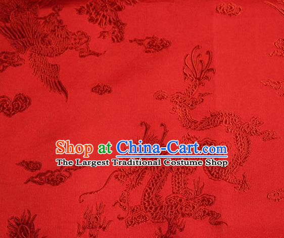 Chinese Traditional Red Silk Fabric Dragon Phoenix Peony Pattern Tang Suit Brocade Cloth Cheongsam Material Drapery