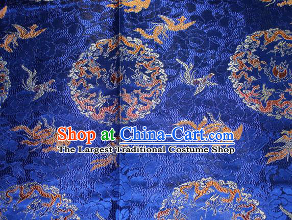 Chinese Traditional Silk Fabric Dragon Phoenix Pattern Tang Suit Royalblue Brocade Cloth Cheongsam Material Drapery