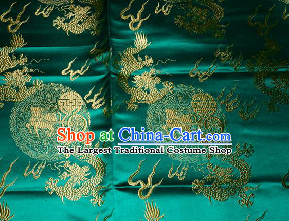 Chinese Traditional Silk Fabric Dragons Pattern Tang Suit Green Brocade Cloth Cheongsam Material Drapery