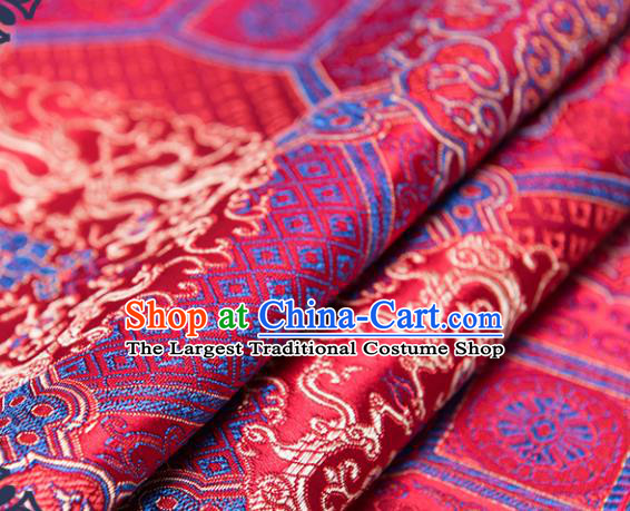 Chinese Traditional Palace Dragon Pattern Tang Suit Brocade Red Fabric Silk Cloth Cheongsam Material Drapery