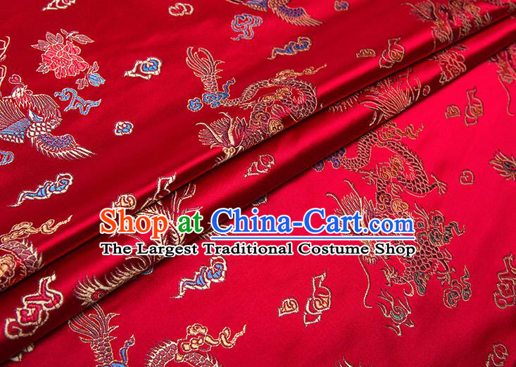 Chinese Traditional Dragon Phoenix Pattern Tang Suit Red Brocade Fabric Silk Cloth Cheongsam Material Drapery