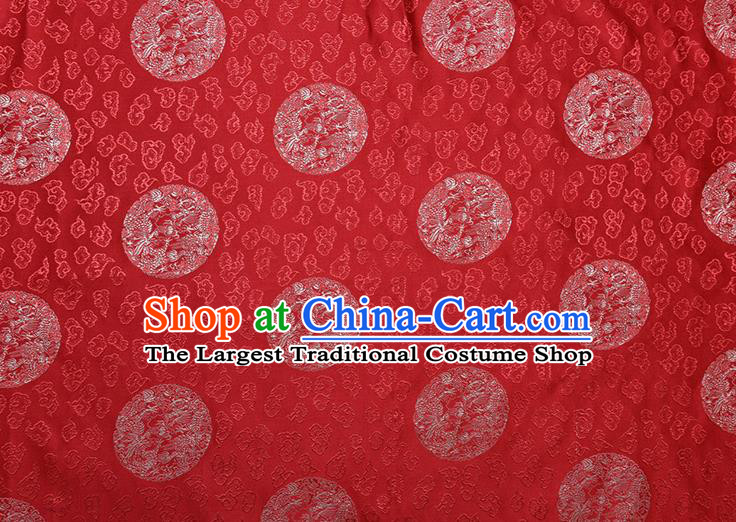 Chinese Traditional Round Dragons Pattern Tang Suit Red Brocade Fabric Silk Cloth Cheongsam Material Drapery