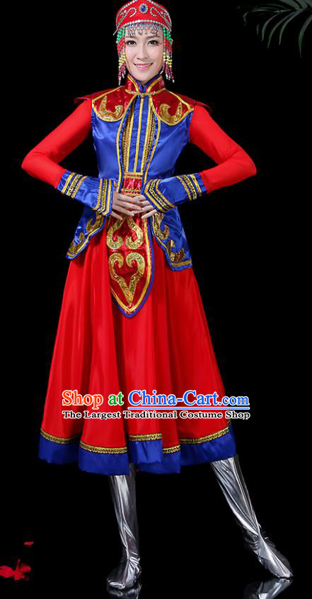 Chinese Traditional Classical Dance Red Dress Mongol Minority Folk Dance Clothing for Women