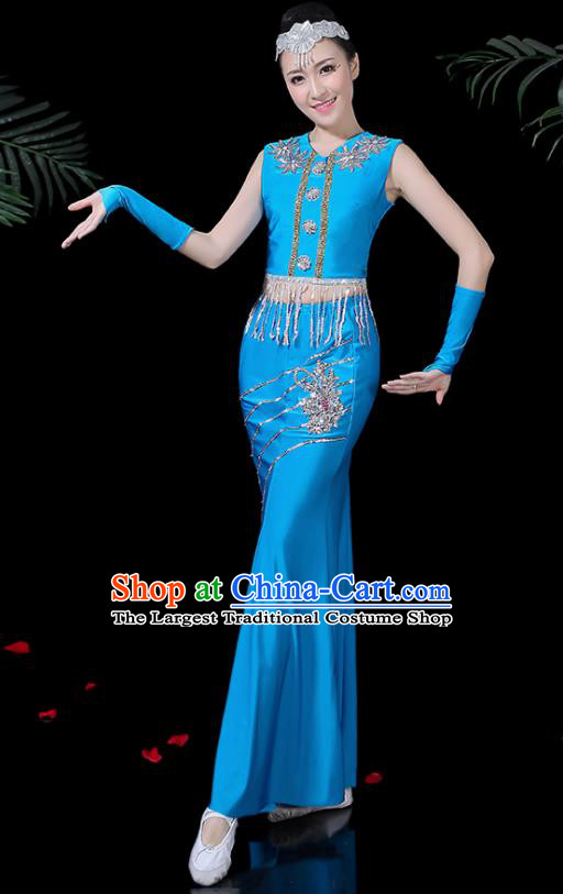Chinese Traditional Classical Peacock Dance Blue Dress Dai Minority Folk Dance Costume for Women