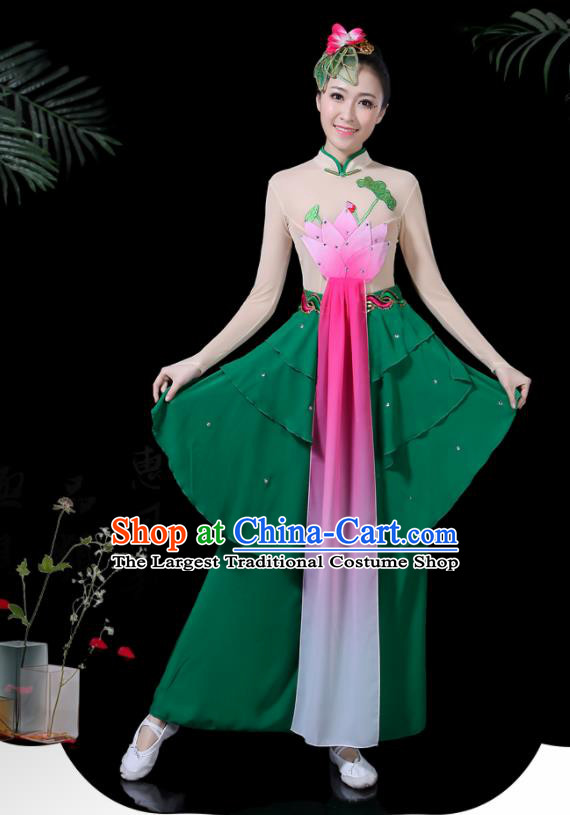 Chinese Classical Lotus Dance Costume Traditional Folk Dance Fan Dance Clothing for Women