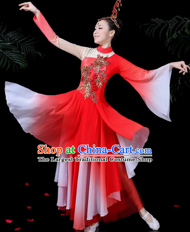 Chinese Classical Umbrella Dance Red Costume Traditional Folk Dance Fan Dance Clothing for Women