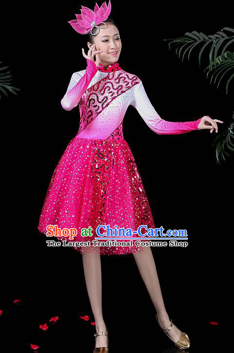 Professional Modern Dance Costume Stage Performance Chorus Rosy Dress for Women