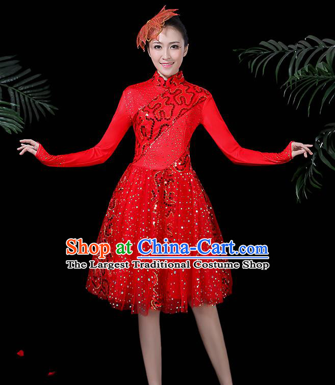 Professional Modern Dance Costume Stage Performance Chorus Red Dress for Women