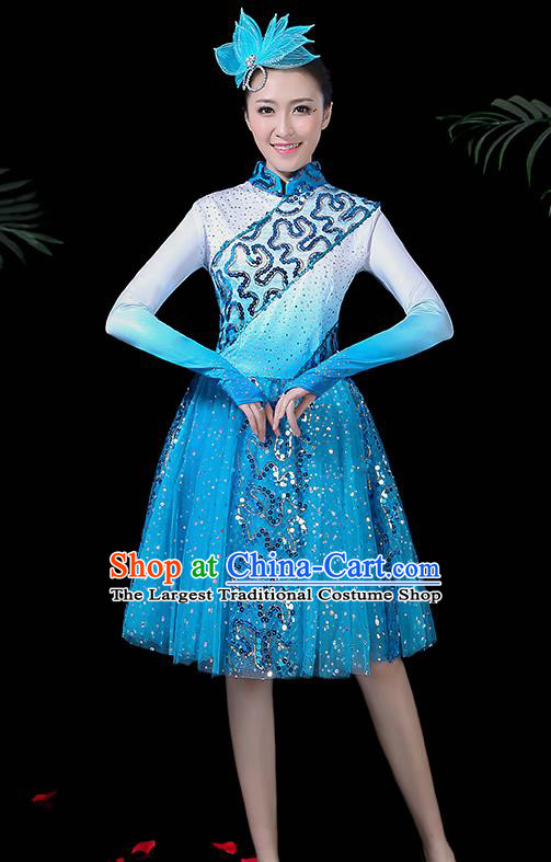 Professional Modern Dance Costume Stage Performance Chorus Blue Dress for Women
