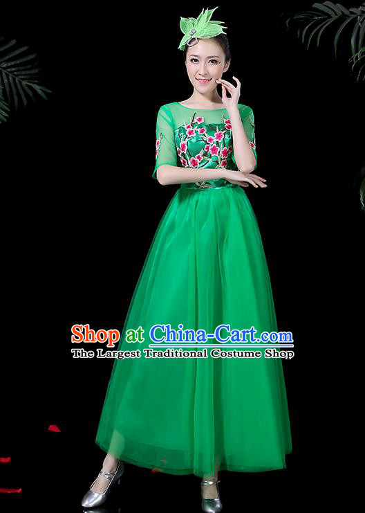 Professional Modern Dance Costume Stage Performance Chorus Green Veil Dress for Women