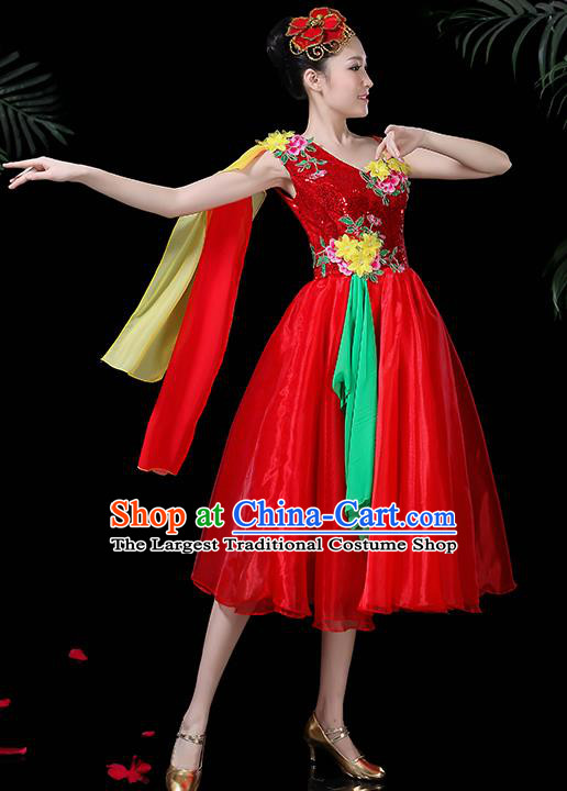 Professional Opening Modern Dance Costume Stage Performance Chorus Red Dress for Women
