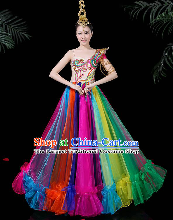 Professional Dance Modern Dance Costume Stage Performance Chorus Colorful Dress for Women