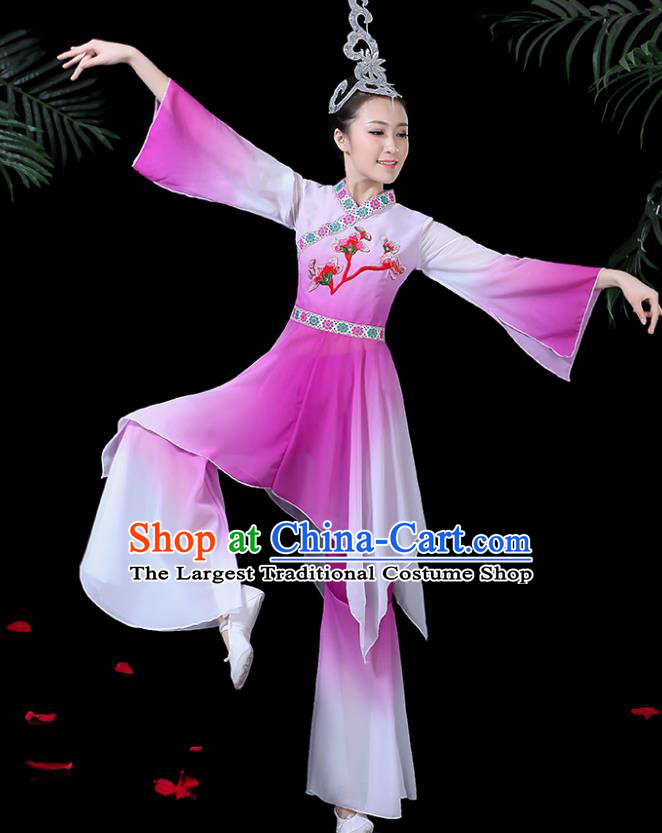 Chinese Classical Dance Purple Costume Traditional Umbrella Dance Fan Dance Clothing for Women