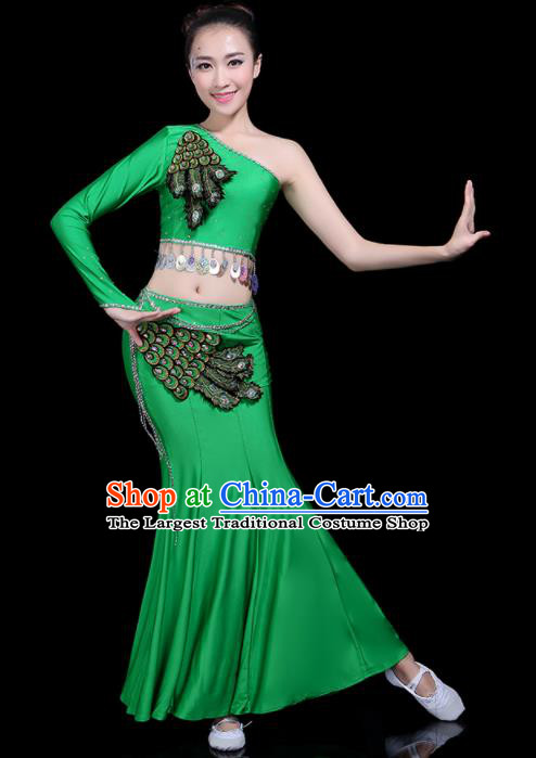 Chinese Traditional Peacock Dance Green Dress Dai Minority Folk Dance National Costume for Women